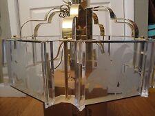 VTG MID CENTURY  FREDRICK RAMOND CEILING FIXTURE LILY GLASS GOLD CHANDELIER