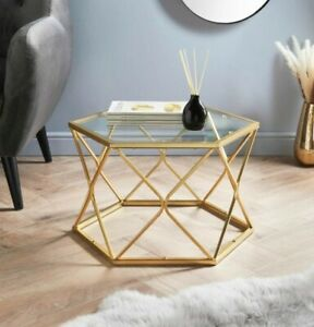 NEW Gold Coffee Tables With Glass Top Set Sofa Side End Tables Living Room Home