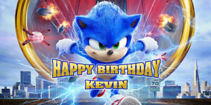 Sonic Personalized Vinyl Banner for Birthday Party