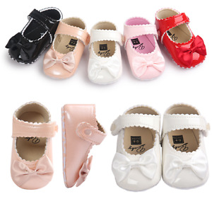 Baby Girl Spanish Style Patent Crib Shoes Infant Toddler Mary Jane Bowknot Shoes
