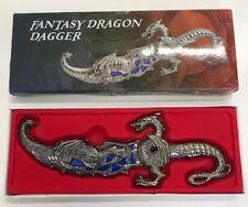 """10"""" Blue Fantasy Dragon Dagger W/Sheath Blade Knife Sword Unique"""