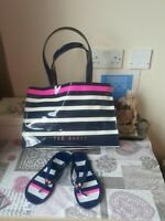 Ted Baker Large Blue and Pink Striped Shopper with Matching Sandals, Size 4