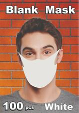 Blank White Face Mask 100 Pack For Screen Printing & Sublimation Made In Usa