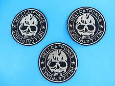 "3pcs Hell Cat Punks skull skeleton punk rock heavy metal rider Patch 3"" x 3"""