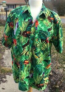 Vintage Hawaiian Tropical Birds Button Shirt Men's Size XL 100% Cotton USA Made
