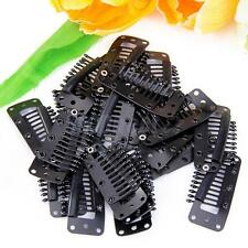 20 Toupee Wig Clips Snap Clips w/ Rubber Back Hair Extension Black Free Ship