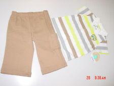 NWT Infant Boys 2 pc Carter's Outfit Shirt Pants Stripe Shirt Beige Pants