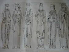 Gravure Costumes Reines  Eglise Notre Dame de CHARTRES