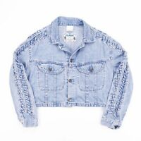 Vintage CLARK Cropped Casual Faded Blue Denim Jacket Womens Size Small