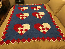 Handmade Afghan / Throw Blanket - Designer Collection - Checkered Hearts