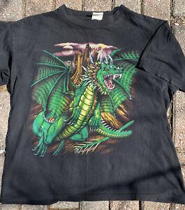 Vtg Mens XL Single Stitch Dragon Graphic T Shirt 90's Lighting Fantasy RARE Tee