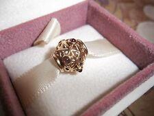 Genuine Authentic Pandora 14ct Gold and Rhodolite Openwork Grid Charm 750508RHL
