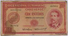 Cap verde Cabo verde - 100 Escudos 1958 - billete circular , taché .aca722
