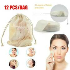 12*Reusable Makeup Remover Pads Face Wipes Facial Cleansing Pad Bamboo Cotton Us