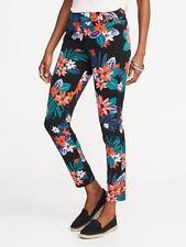 Old Navy Black Flower Print Ankle Pixie Pants  Sz 6   NWT