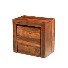 Cuba Sheesham Cube Nest of Tables Living Room Solid Wood Indian Furniture