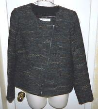 NWT GERARD DAREL Womens Ocean Blue Tweed Wool Zipper Classic Jacket Coat 38