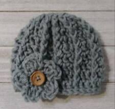 Gray Preemie baby button flower hat beanie girls crochet