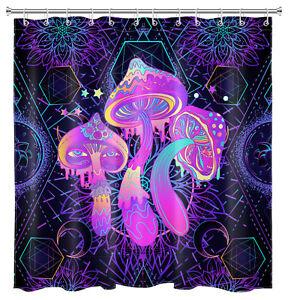 Psychedelic Mushroom Shower Curtain Purple Abstract Boho Floral Bathroom Decor