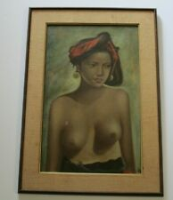 NICE  FILIPINO PHILIPPINES PAINTING VILLAGE NUDE 1960 YOUNG WOMAN FEMALE MODEL
