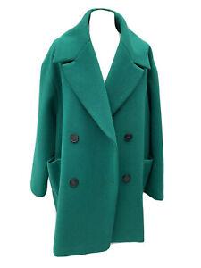 M&S Women's UK 20 Boxy Coat Tailored Cocoon Overcoat Emerald Green 90s STYLE