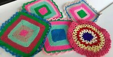 5 VINTAGE square CROCHET POT HOLDERS HOT PADS wool THREAD bright colorful lace