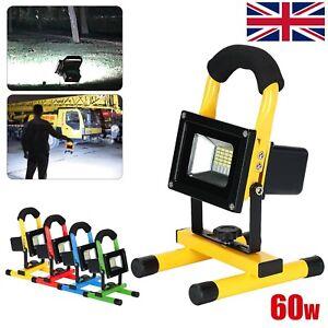 60W LED Rechargeable Cordless Portable Durable Work Flood Light Fishing UK