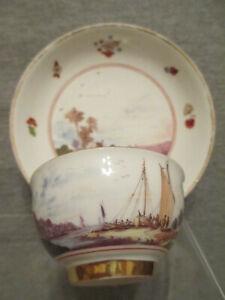 Meissen Porcelain Continuous Scenic Tea Bowl & Saucer 1735