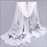 Elegant Flower Printed Beach Scarf Chiffon Scarf Fashion Long Soft Wrap Shawl