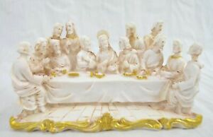 POLYRESIN WITH GOLD, THE LAST SUPPER SET FIGURINE
