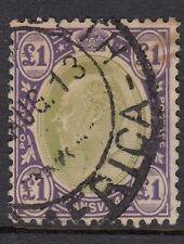 SOUTH AFRICA TRANSVAAL 1902 EVII SG258 £1 gr & violet wmk Crown CA f/u cat £225