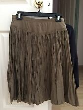 Country Road Brown Fine Cotton Silk Boho Full Pleat Tutu Midi Skirt Womens 8