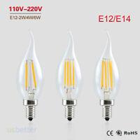 Lot 10PCS E12 E14 4W 8W 12W COB Filament Retro LED Light Candle Flame Bulb Lamp