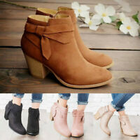 Women Low Block Heel Ankle Booties Boots Chelsea Casual Round Toe Zipper Shoes