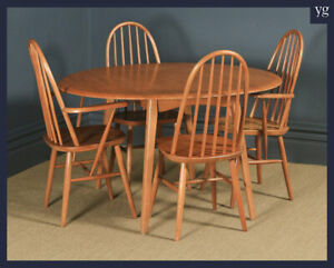 Priory Blonde Ercol Style Quaker Oak Drop Leaf Dining Table & Four Hoop Chairs