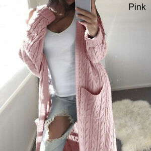 Women Knitted Sweater Open Front Pocket Coat Long Cardigan Coat/Jacket Winter