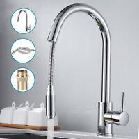 Pull Out Spray Kitchen Tap Basin Sink Mixer Taps Mono Chrome Swivel Spout Faucet