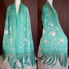 Vintage Antique Turquoise Silk White Floral Embroidered Piano Shawl Scarf Stole