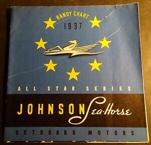 "VINTAGE 1937 JOHNSON OUTBOARD MOTOR SALES BROCHURE POSTER SIZE 17"" X 33"" (472)"