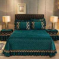 Europe Lace Crystal Velvet Bedspread Qulited Cotton Bed Cover Luxury Queen Sheet