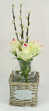 Decorative Glass Bottle Vase Wicker Basket with Flower Sign Plate
