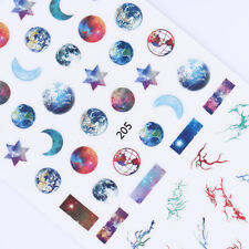 Starry Sky 3D Nail Stickers Star Moon Earth Nail Art Transfer Decals Manicure