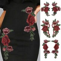 2/6PCS Red Rose Flower Embroidery Sew On Badge Applique Patch DIY Dress Clothes
