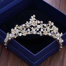5cm High Gold Flower Leaf Crystal Wedding Bridal Party Pageant Prom Tiara Crown