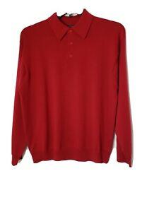 Cezani Mens Collar 3 Button Sweater Sz M 100% Extra Fine Merino Wool Red Knit
