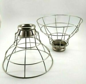 Brushed Nickel Wire Cage Pendant Light Shade Industrial Look Restaurant Set of 2
