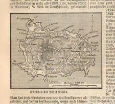 1883= ISOLA ISCHIA = Campania = Italia = Antica Mappa Topografica