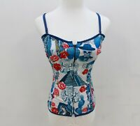 HELL BUNNY Skull Rose Aztec Lace Up Back Zip Up Front CORSET Top AUS 6 8 XXS XS