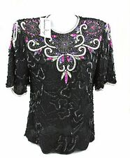 Vintage Lawrence Kazar Hand Beaded Sequin Blouse Multicolor 100% Silk