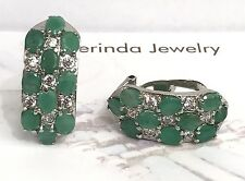 .925 Sterling Silver Band Cluster Omega Back Earrings, Natural Emerald